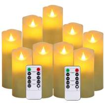 "Flameless Candles,New Style Led Candles Set of 9(H 5"" 5.5"" 6"" 7"" 8"" 9"" xD 2.1"") Ivory Real Wax Battery Candles (Batteries not Incl) with 2 Remote Timers"
