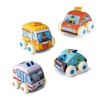 UNIH Baby Pull-Back Vehicle Set for Toddler & Kids,Soft Car Toys Play Set for 1 2 3 Year Old(4 PCS)