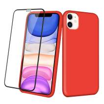 Aemotoy Case for iPhone 11 Soft Rubber Silicone Case Full Body Wrapped 2 in 1 with Tempered Glass Anti-Scratch Shock Absorption Slim Cover Case for 2019 Release 6.1 Inches iPhone 11, Red