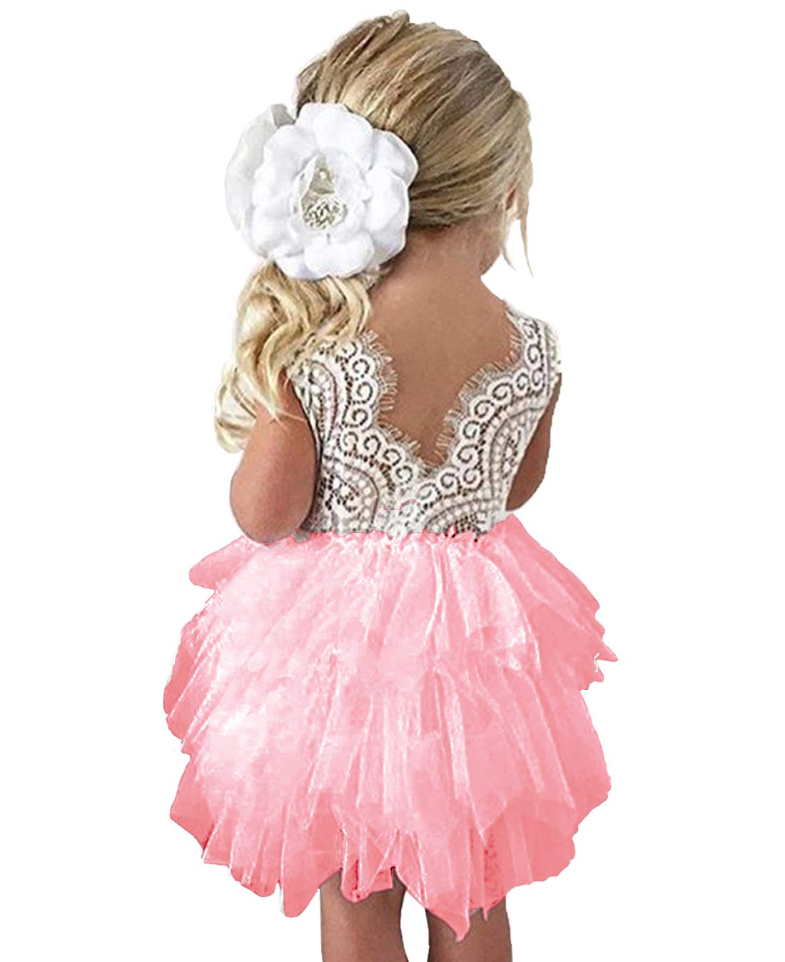 lymanchi Toddler Baby Lace Back Tiered Tutu Tulle Backless Flower Girls Dress