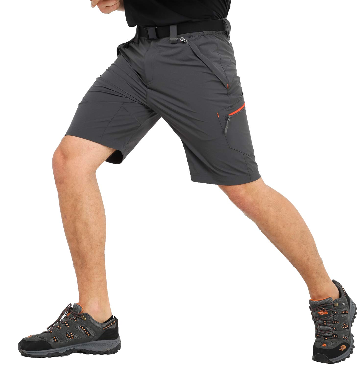 MIER Men's Quick Dry Nylon Cargo Shorts Lightweight Hiking Shorts with Zipper Pockets, Partial Elastic Waist, Water Resistant