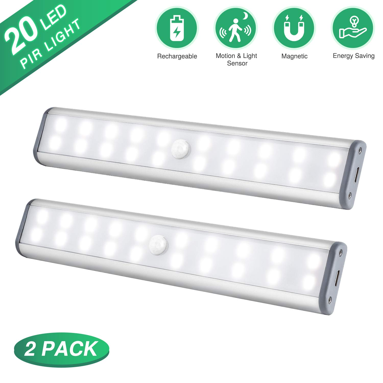 Under Cabinet Lighting Motion Sensor Closet Lights, Wireless Rechargeable Cabinet Lights, Magnetic Under Counter Lighting, LED Sensor Night Light for Closet Cabinet Wardrobe Stairs (2 Packs)