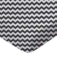 SheetWorld Fitted Portable / Mini Crib Sheet - Black Chevron Zigzag - Made In USA