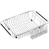 ARCCI Dish Drying Rack with Stainless Steel Utensil Holder Cutlery Rack, Over Sink or in Sink Dish Drainer, on Countertop Dish Drying Basket