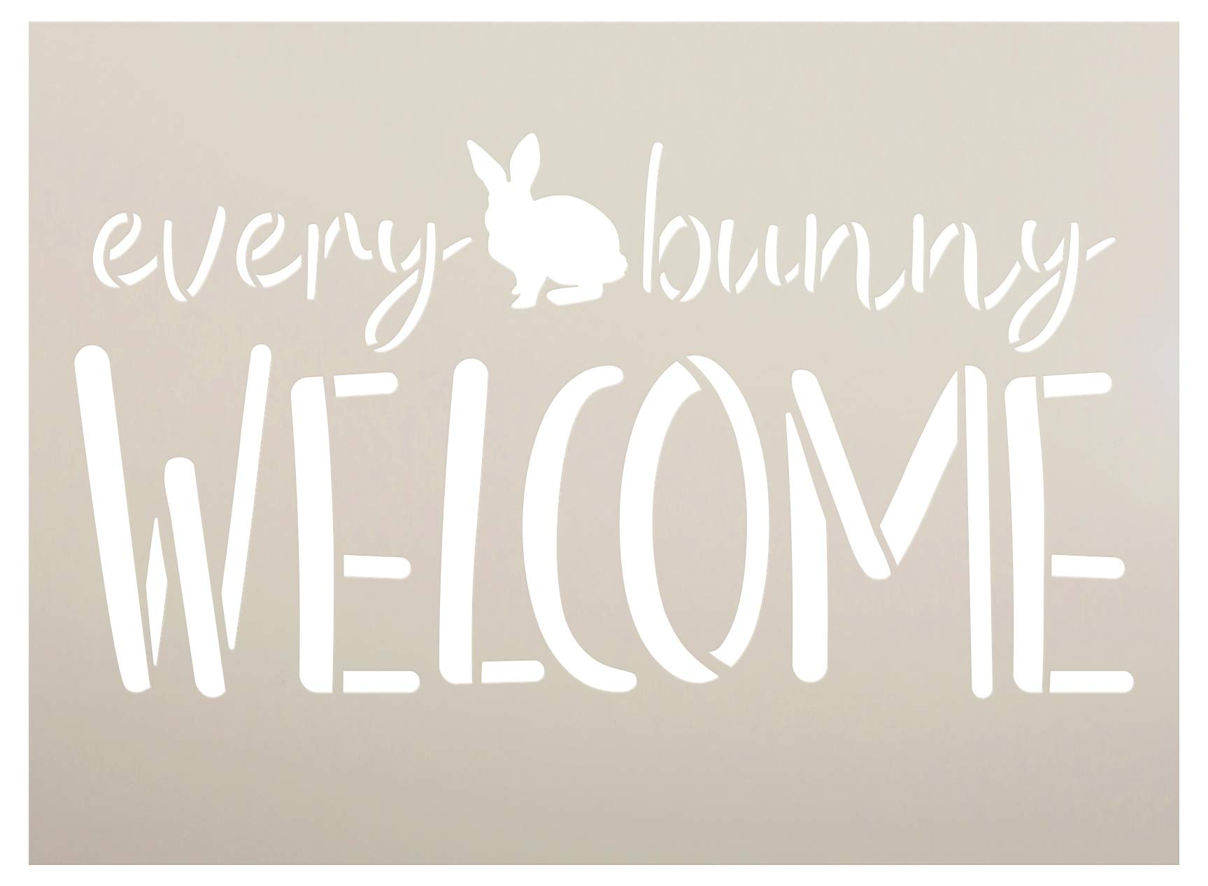 Every Bunny Welcome Stencil by StudioR12 | DIY Fun Cursive Spring Home Decor | Easter Script Word Art | Craft & Paint Farmhouse Wood Sign | Reusable Mylar Template | Select Size (15 x 11 inch)