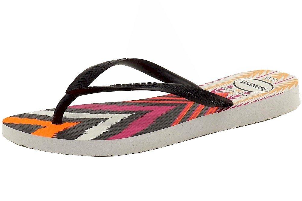 Havaianas Women's Slim Tribal Fashion White/Black Flip Flops Sandals Shoes