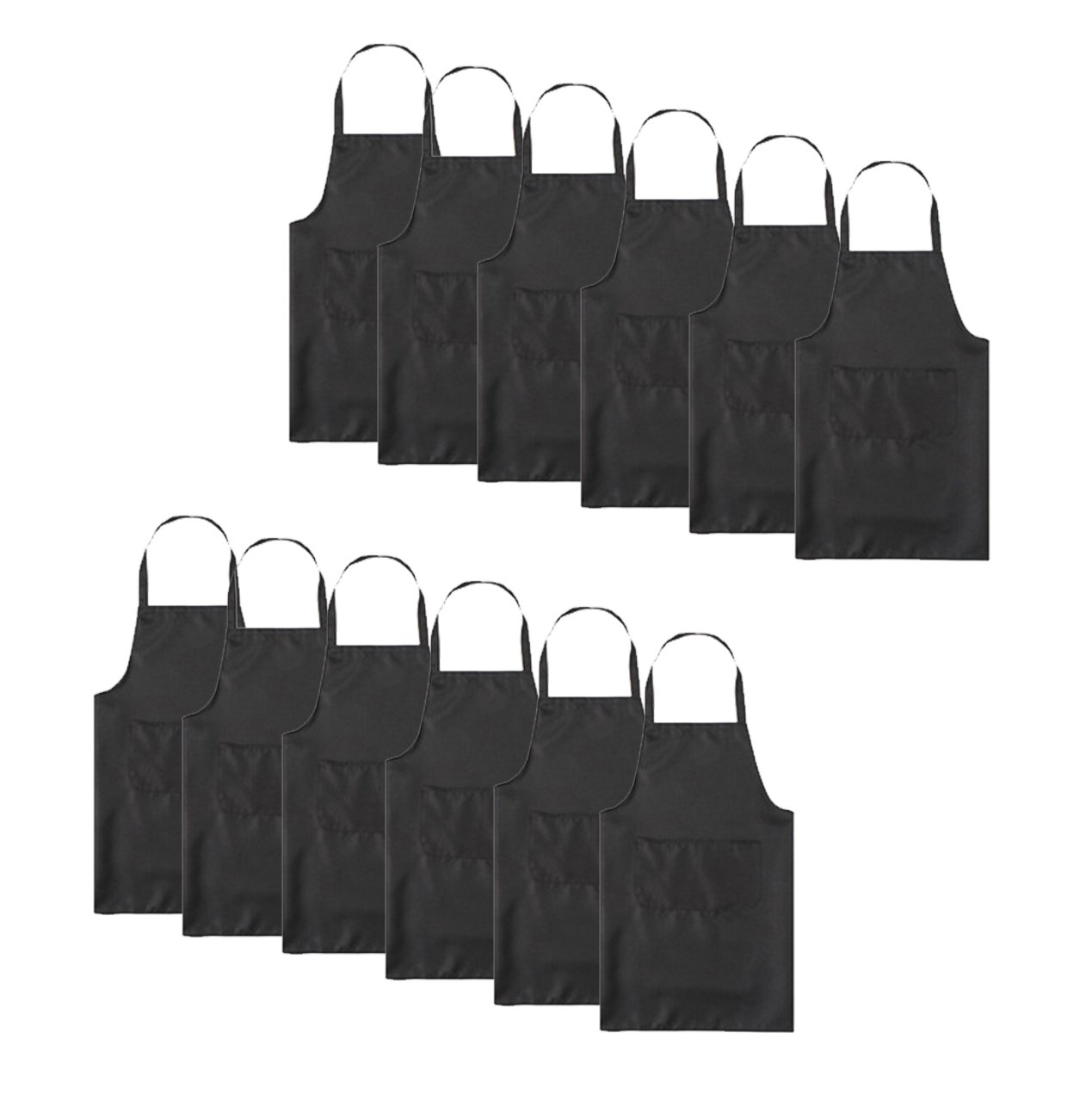 TSD STORY 12 PCS Black Plain Color Bib Aprons Bulk for Women Men Unisex Adult with 2 Front Pockets-Chef Kitchen Server Grill Restaurant Cooking Baking Painting Aprons for Party or Class(Black-24 x28)