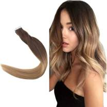 Easyouth Tape in Real Hair Extensions Remy Human Hair Color 4 Middle Brown Fading to 27 Honey Blonde 18inch 40g per Package Real Human Hair Tape on Hair Extensions Skin Weft