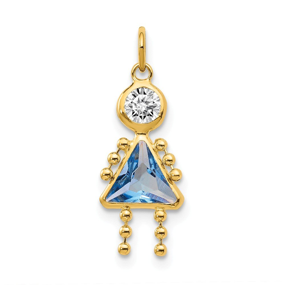 14k Yellow Gold March Girl Birthstone Pendant Charm Necklace Kid Fine Jewelry For Women Gifts For Her