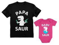 Papa Saur T-Rex Dad & Baby Saur Daddy and Me Matching Set Father & Son Daughter