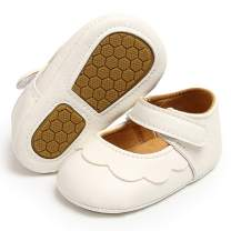 Antheron Baby Girls Mary Jane Flats with Bowknot Non-Slip Toddler First Walkers Princess Dress Shoes
