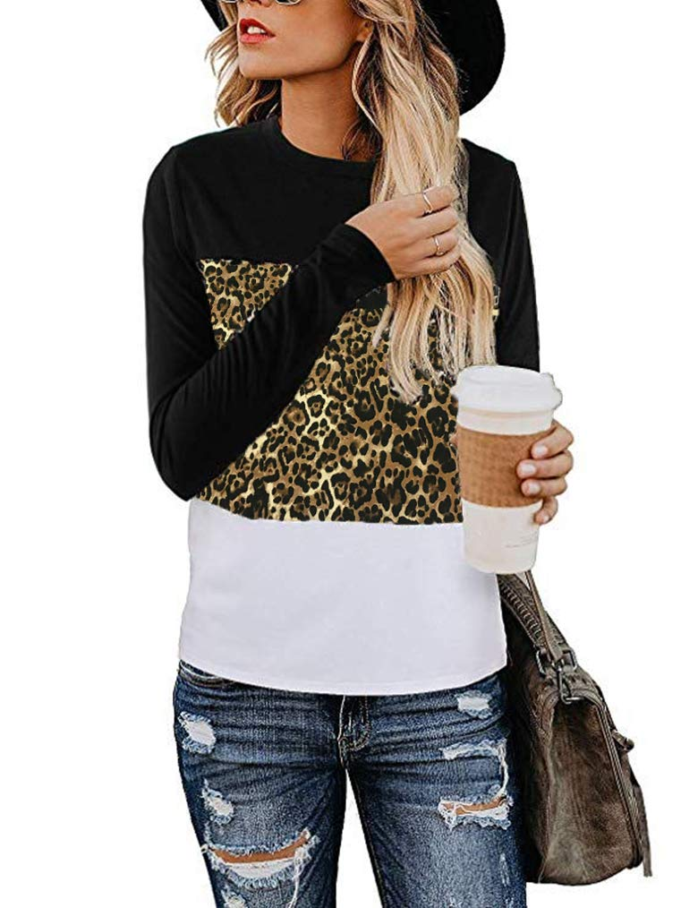 Miselon Women Casual Striped Patchwork Long Sleeve Loose T-Shirt Tunic Tops