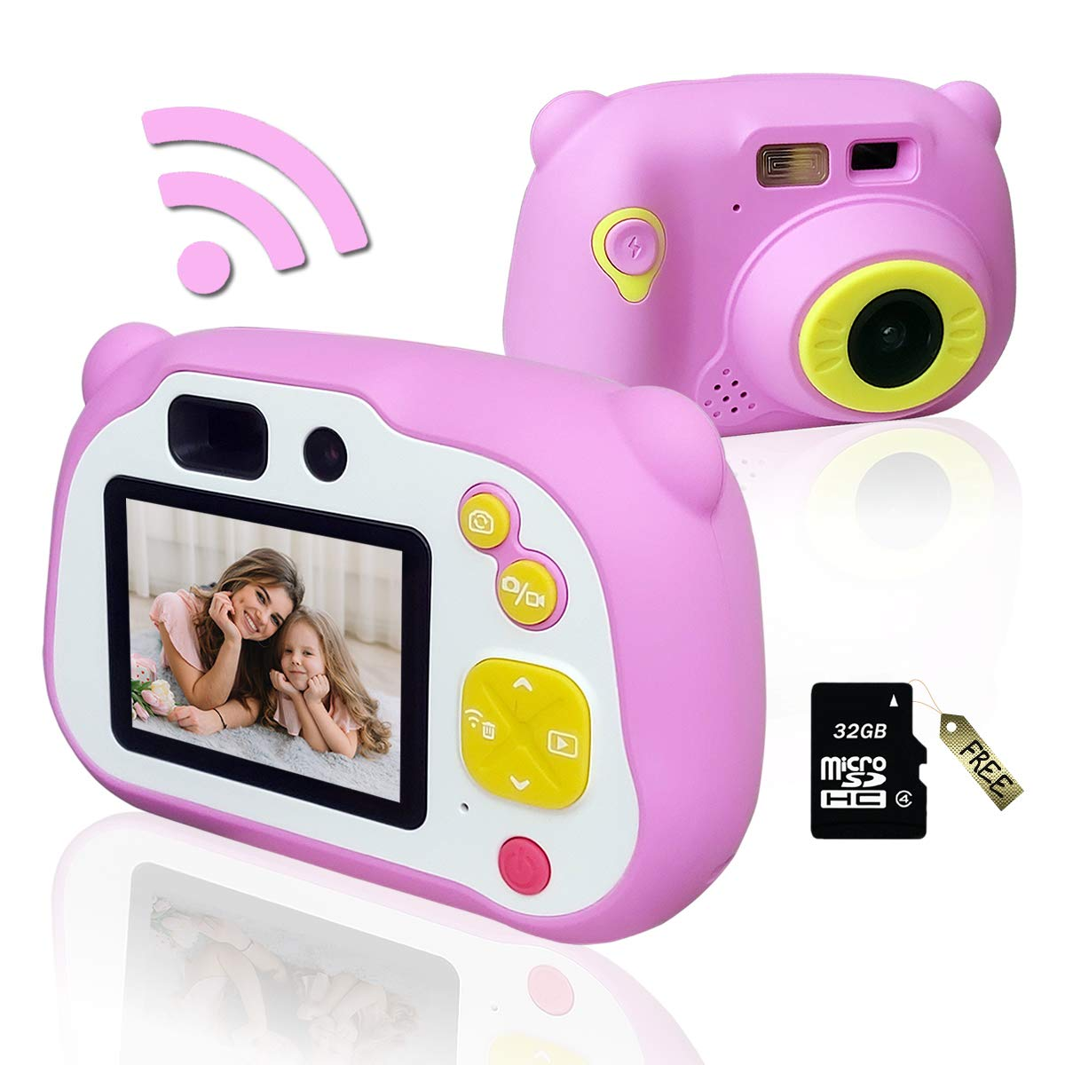 Kids Camera, Lofoson WiFi Children Digital Camera HD 1080P Video Mini Camcorder with 12MP Front and Rear Selfie Camera 2 Inch Screen Autofocus for Age 3-14 with Soft Silicone shell& 32GB Micro SD Card