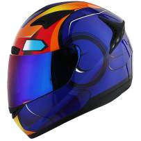 1STORM MOTORCYCLE BIKE FULL FACE HELMET BOOSTER IRON MAN BLUE