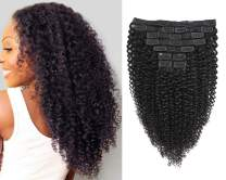 Jiarosi Kinky Curly Clip in Hair Extensions 3C 4A Afro kinky Curly Clip ins,Soft 8A Brazilian Remy Human Hair Lace weft Clip in for Woman, 1B Black Color,120 Gram(10)