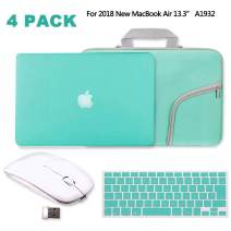 IC ICLOVER Turquoise Matte Hard Case for 2018 New MacBook Air 13.3, Rubberized (Rubber Coated) Shell +Silicone Keyboard Cover Protector +Sleeve Bag+Wireless Mouse for MacBook Air 13 inch A1932