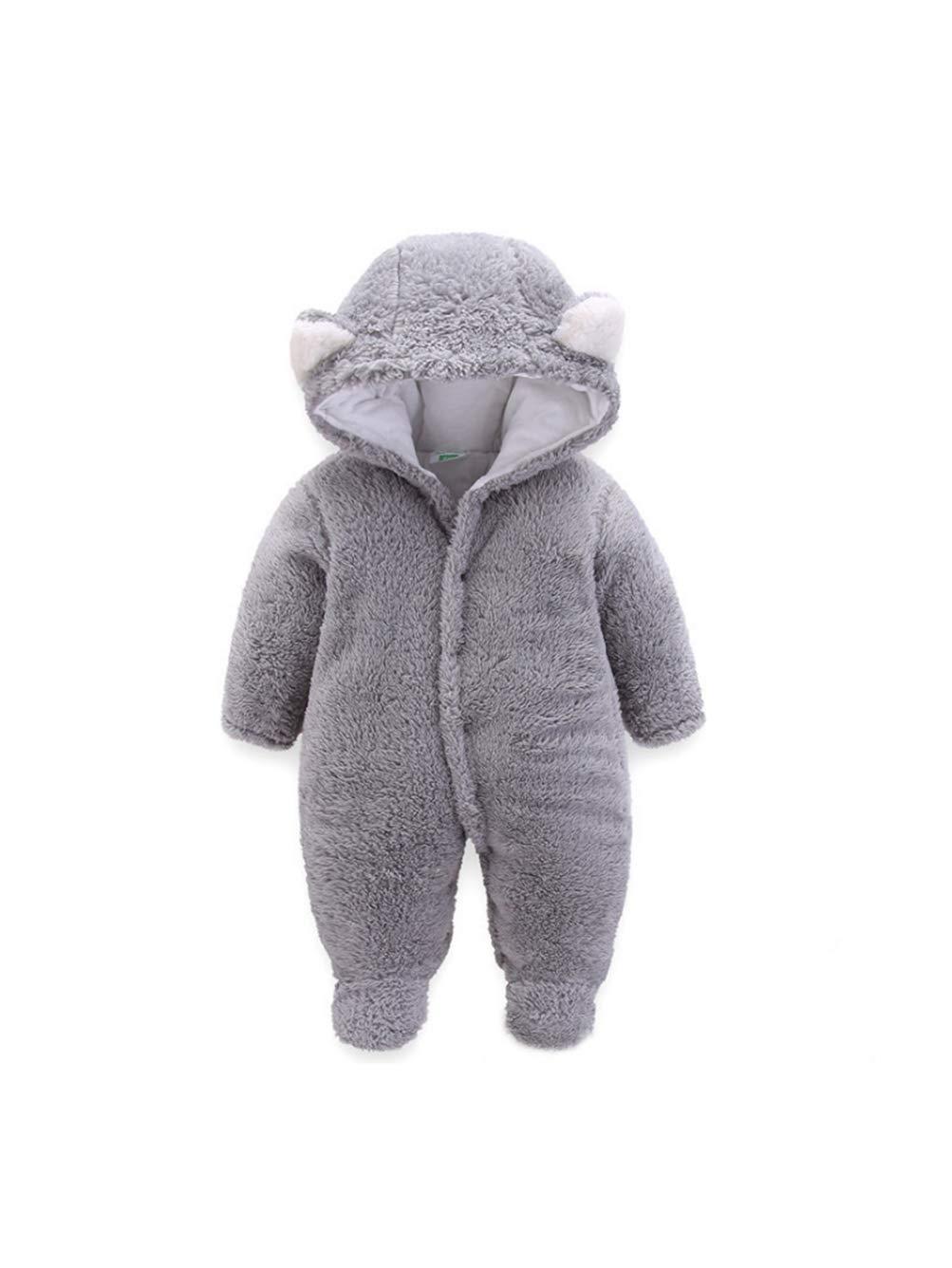 iChunhua Unisex Baby Newborn Wrap Cartoon Bear Snowsuit Thick Fleece Soft Footies Romper Jumpsuit