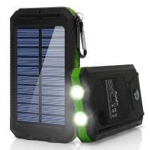 Ayyie Solar Charger,10000mAh Solar Power Bank Portable External Backup Battery Pack Dual USB Solar Phone Charger with 2LED Light Carabiner and Compass for Your Smartphones (Green)