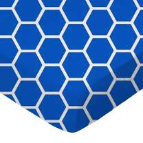 SheetWorld Fitted Portable / Mini Crib Sheet - Royal Blue Honeycomb - Made In USA