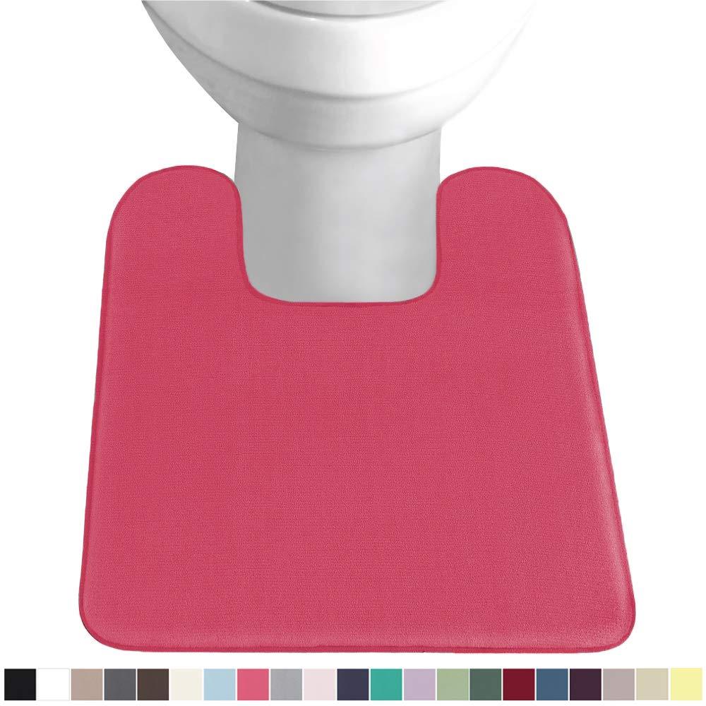 Gorilla Grip Original Thick Memory Foam Contour Toilet Bath Rug 22.5x19.5, Square, Cushioned, Soft Floor Mats, Absorbent Premium Bathroom Rugs, Machine Wash and Dry, Plush Bath Room Carpet, Hot Pink
