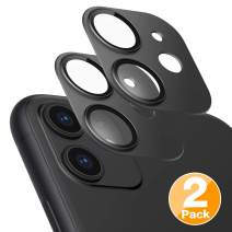Tensea Compatible iPhone 11 Camera Lens Protectors, Aviation Aluminum Rear Cover and Tempered Glass Film Back Screen Protectors for iPhone 11 6.1 inch, 2 Pack (Black)
