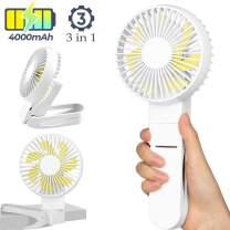 Stroller Fan Clip On - Portable Mini Desk Fan USB Cooling Fan Rechargeable Battery Operated, 4 Speeds Settings, Quiet Desk Fan Ideal for Home, Office, Car, Travel, Camping, Outdoor