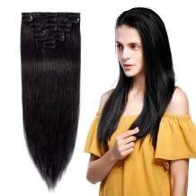 """Clip in 100% Remy Human Hair Extensions Grade 7A Quality Full Head 8pcs 18clips Long Soft Silky Straight for Beauty Fashion 90g 16"""" / 16 inch #1 Jet Black"""