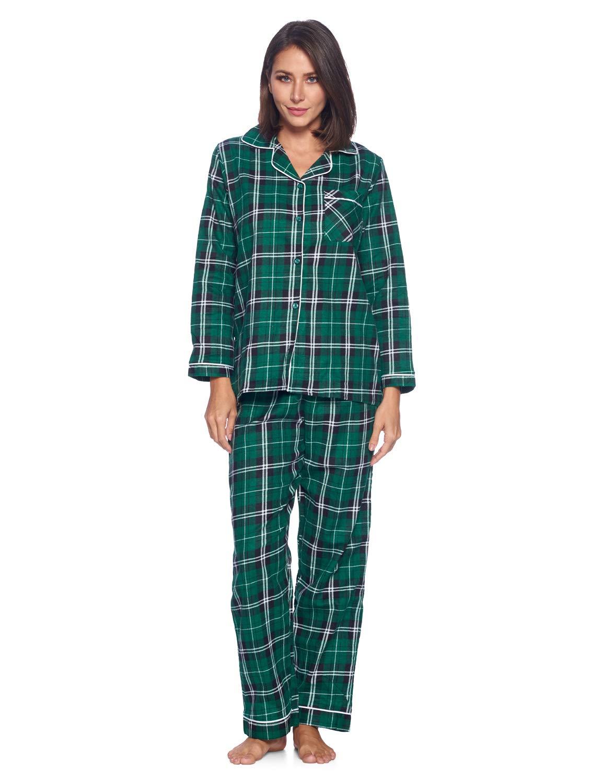 Casual Nights Women's Flannel Long Sleeve PJ's Button Down Sleepwear Pajama Set