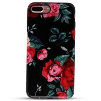 """GOLINK iPhone 7 Plus Case for Girls/iPhone 8 Plus Floral Case, Matte Floral Series Slim-Fit Anti-Scratch Shock Proof Anti-Finger Print Flexible TPU Gel Case for iPhone 7 Plus 5.5"""" - Red Rose"""