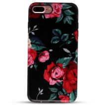 "GOLINK iPhone 7 Plus Case for Girls/iPhone 8 Plus Floral Case, Matte Floral Series Slim-Fit Anti-Scratch Shock Proof Anti-Finger Print Flexible TPU Gel Case for iPhone 7 Plus 5.5"" - Red Rose"