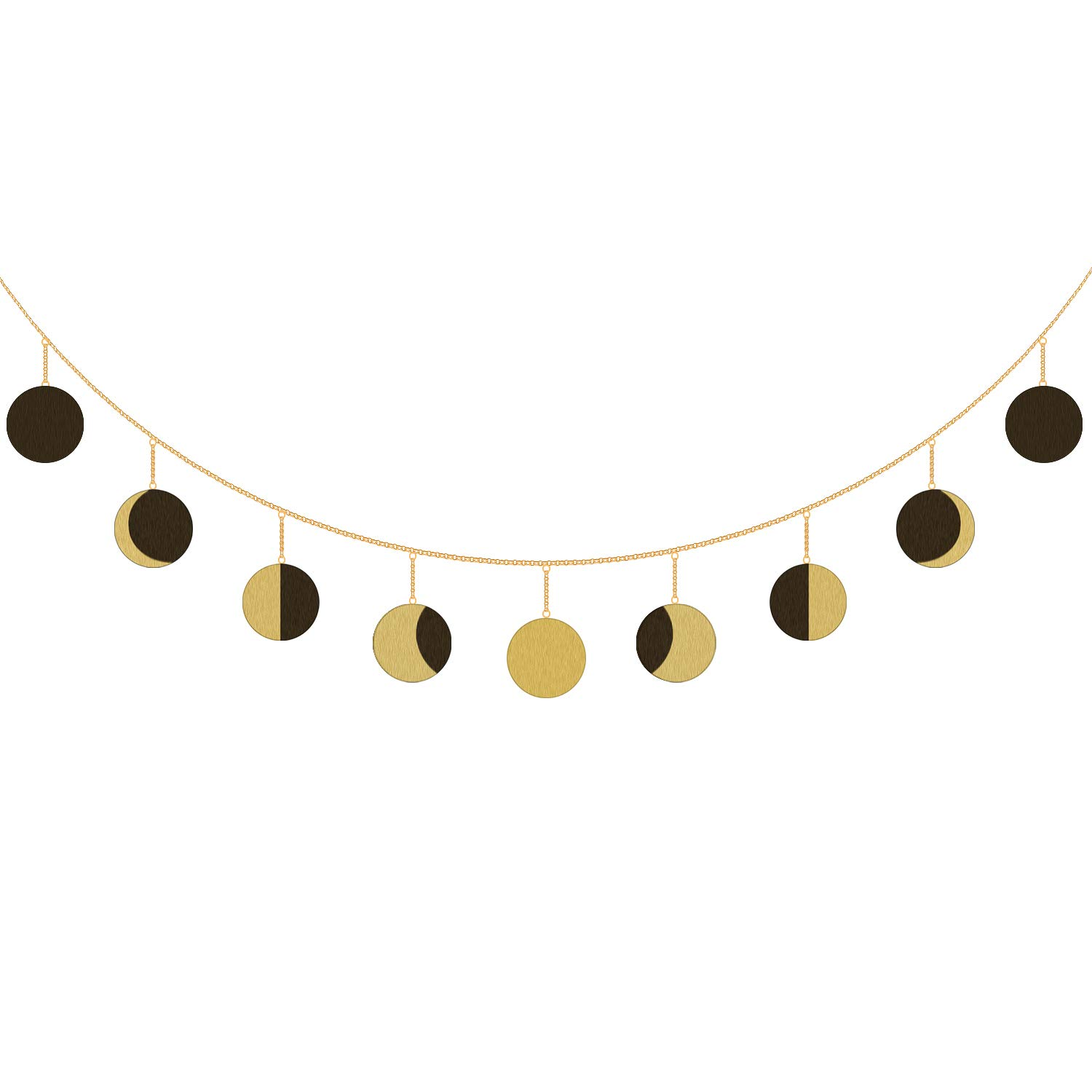 Urban Deco Moon Phase Garland Moon Wall Decor with Gold Chain for Dorm Living Room Bedroom Nursery Home Office (Gold-Horizontal)