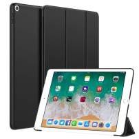 Dadanism Smart Case Fit iPad 9.7 2018/2017, iPad 6th / 5th Generation Case - Slim Lightweight Rubber Coated Folio Case Trifold Stand Smart Hard Cover [Auto Sleep/Wake], Viewing/Typing Stand, Black