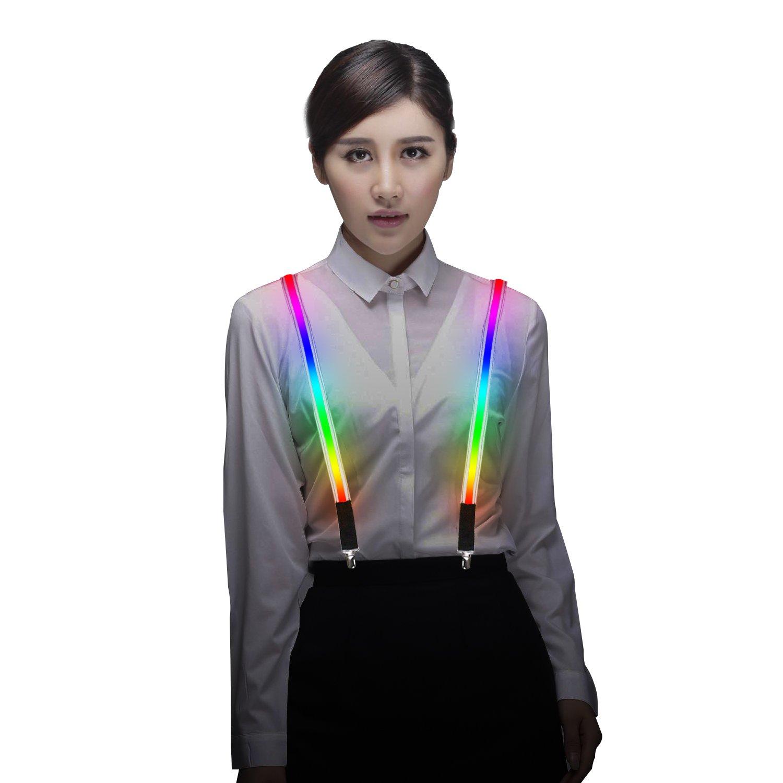 MORLIGHT Light Up LED Suspenders Adjustable One-size for Party Concert Costume Men&Women