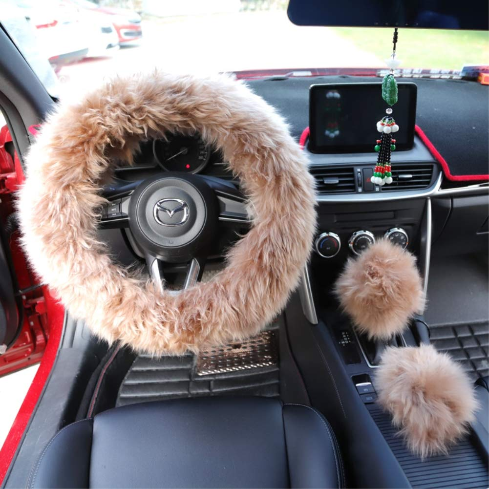 """Yontree Steering Wheel Cover with Handbrake Cover Gear Shift Cover Winter Warm Faux Wool 14.96""""x 14.96"""" 1 Set 3 Pcs Cameo Brown"""