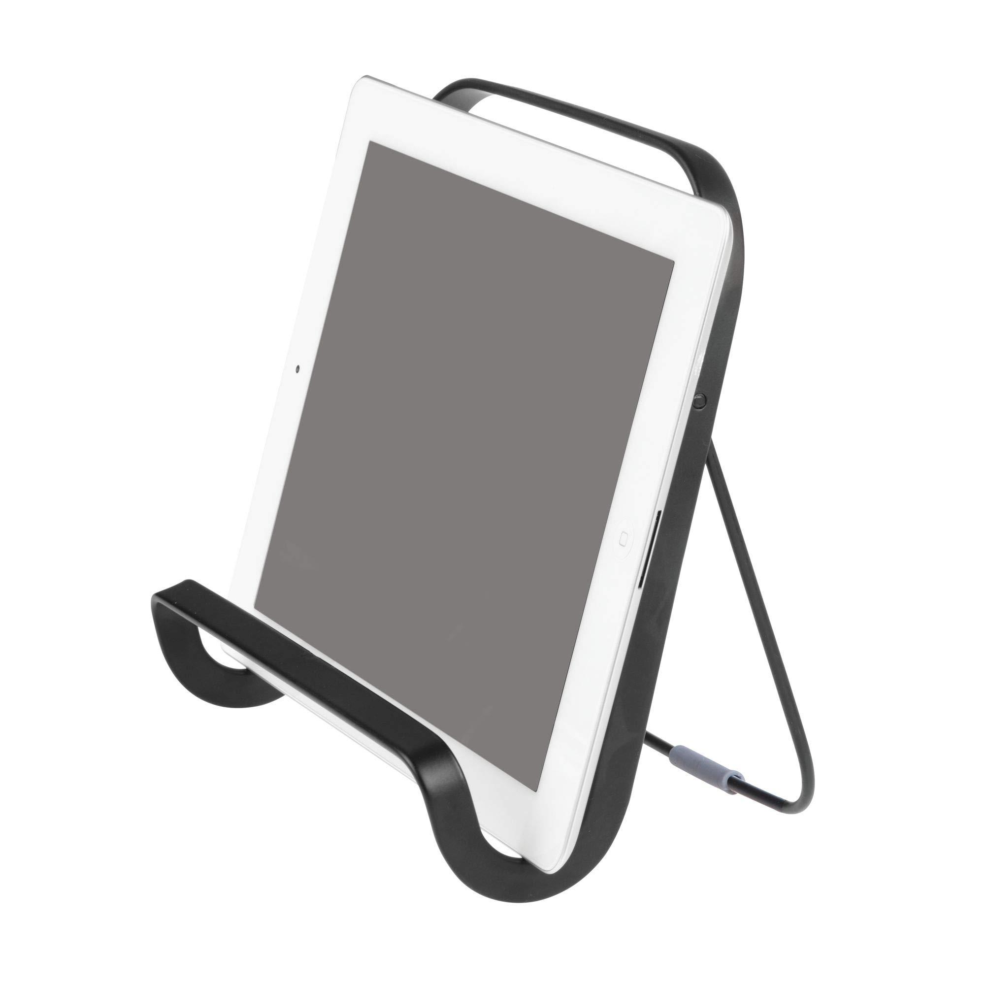 "iDesign Austin Tablet and Cookbook Holder - 7.75"" x 7.87"" x 7.89"", Matte Black/Smoke"