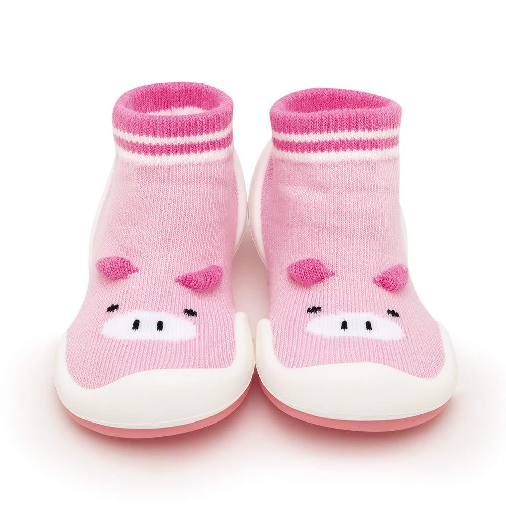 Komuello Girl Baby Toddler Pull up First Walker Non Slip Soft Cotton Premium Sock Shoes Piglet-Pink Toddler 7 (18-24 Months)