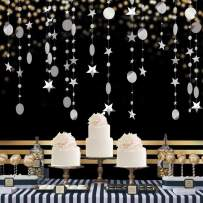 Silver Party Decoration Circle Dot Star Garland Banner Bright Paper Streamer Hanging Decorations Glitter Star Bunting Banner Backdrop for Engagement Wedding Baby Shower Christmas Birthday Kid's Room