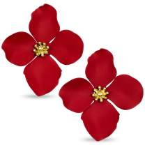 ZENZII Flower Petal Statement Gold Center Stud Earrings with for Women