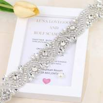 "Wedding Rhinestone Trim Appliques by The Yard for Bridal Belt Sash or Wedding Dresses-Sliver-1 Piece(1.4""36""in)"