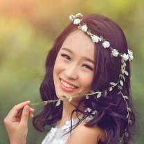 Edary Boho Flower Headband Wedding Garland Wreath Floral Seaside Hair Crown Accessories for Women and Girls (Blue)