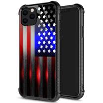 iPhone 11 Pro Max Case,9H Tempered Glass iPhone 11 Pro Max Cases Cut American Flag for Men Boys, Pattern Design Shockproof Anti-Scratch Case for Apple iPhone 11 Pro Max Cut Flag