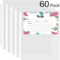 MaxGear Recipe Card Protectors 4 x 6 inch, 2 Pockets Per Page, Recipe Card Page Protectors for Mini 3 Ring Binder 5.5 x 8.5 Inch, Recipe Card Holder Sleeves Page Refills Left Side Loading, 60 Pack