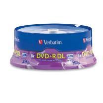 Verbatim DVD+R DL 8.5GB 8X with Branded Surface - 30pk Spindle - 96542