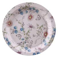 Ottin Floral Tea Party Supplies 80 Counts 9'' Disposable Blue Flower and Butterfly Paper Plates for Wedding Bridal Shower Engagement Happy Birthday for Women Girlfriend Party Tea Party Mother Day