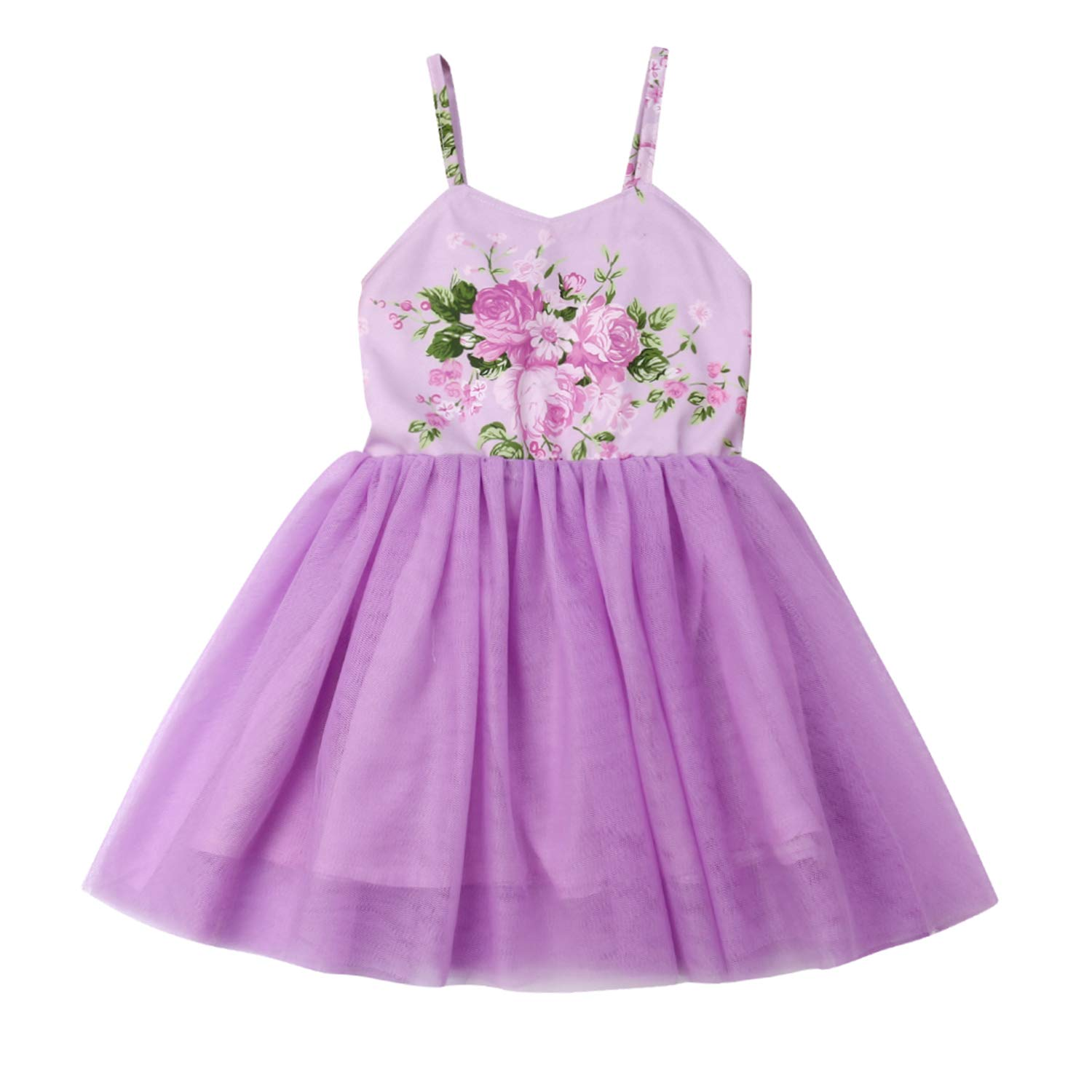 Flower Girls Backless Floral Printed Pink Lace Tutu Dress Toddler Kids Princess Party Dresses Sundress