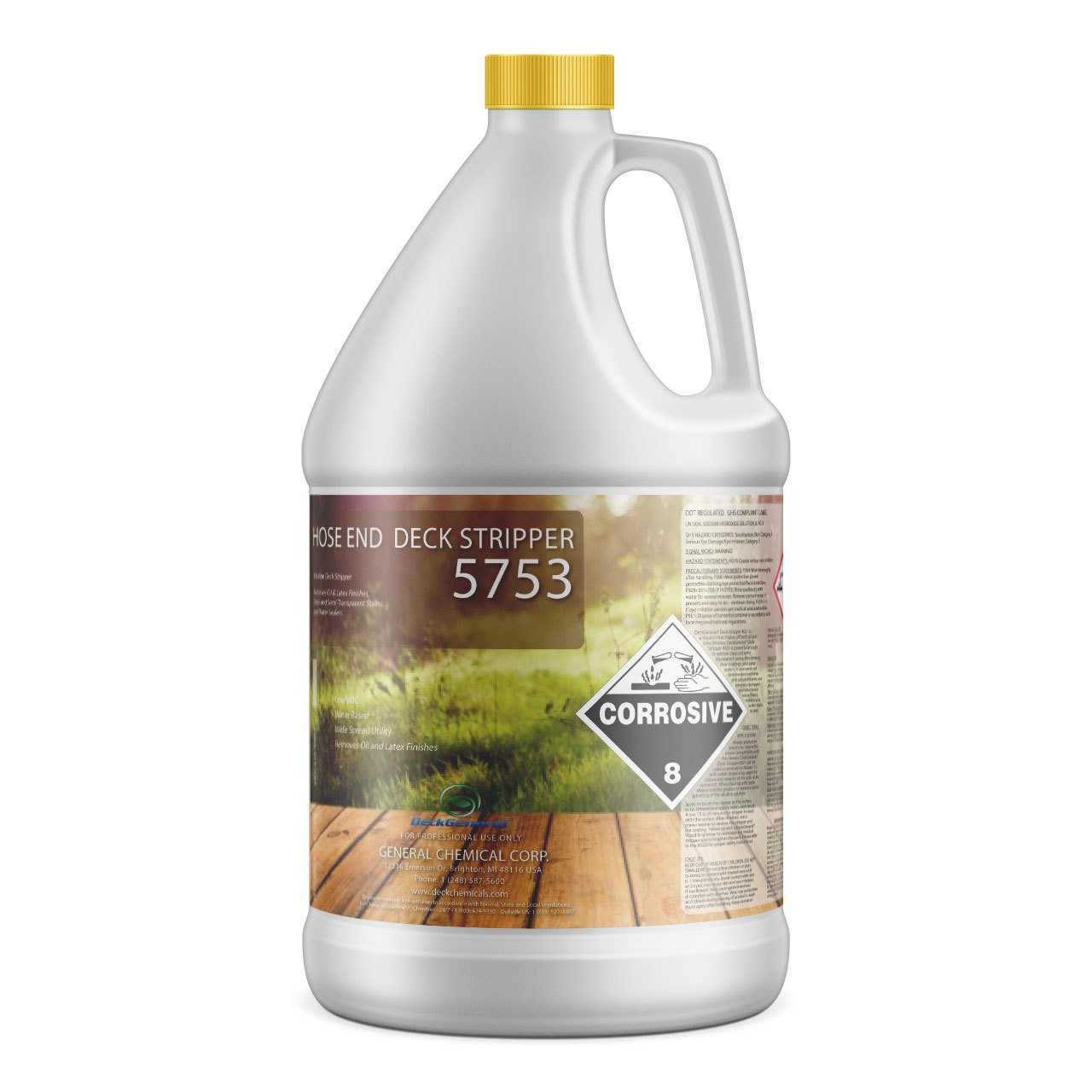 Deck Stripper 5753 by DeckGeneral | Removes Stains, Finishes, Coatings, Sealers & Paint | Easy to Apply | Works on Multiple Wood Surfaces | 0 VOC | Water Based Formula | 1 Gallon