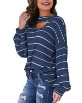 BONESUN Tunic Pullovers for Women Long Sleeve Chuncky Blouses Spring Fall Tops