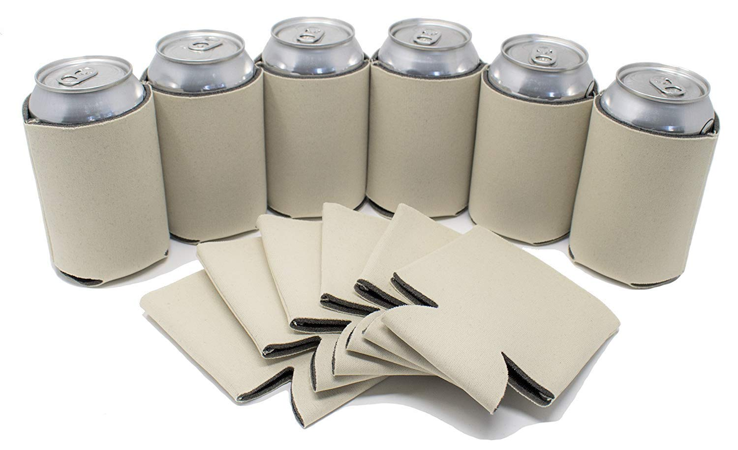 TahoeBay 12 Blank Beer Can Coolers, Plain Bulk Collapsible Soda Cover Coolies, DIY Personalized Sublimation Sleeves for Weddings, Bachelorette Parties, Funny HTV Party Favors (Khaki, 12)