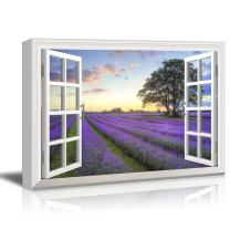 "wall26 - Creative Window View Canvas Prints Wall Art - Sunrise on a Purple Filed - 24"" x 36"""