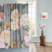 Uphome Floral Fabric Shower Curtain, Grey and Cream Shabby Chic Rose Flower Cloth Shower Curtain Thick Water Repellent Pastel Spring Penny Bathroom Curtains for Shower with Hooks Set, 36 x 72